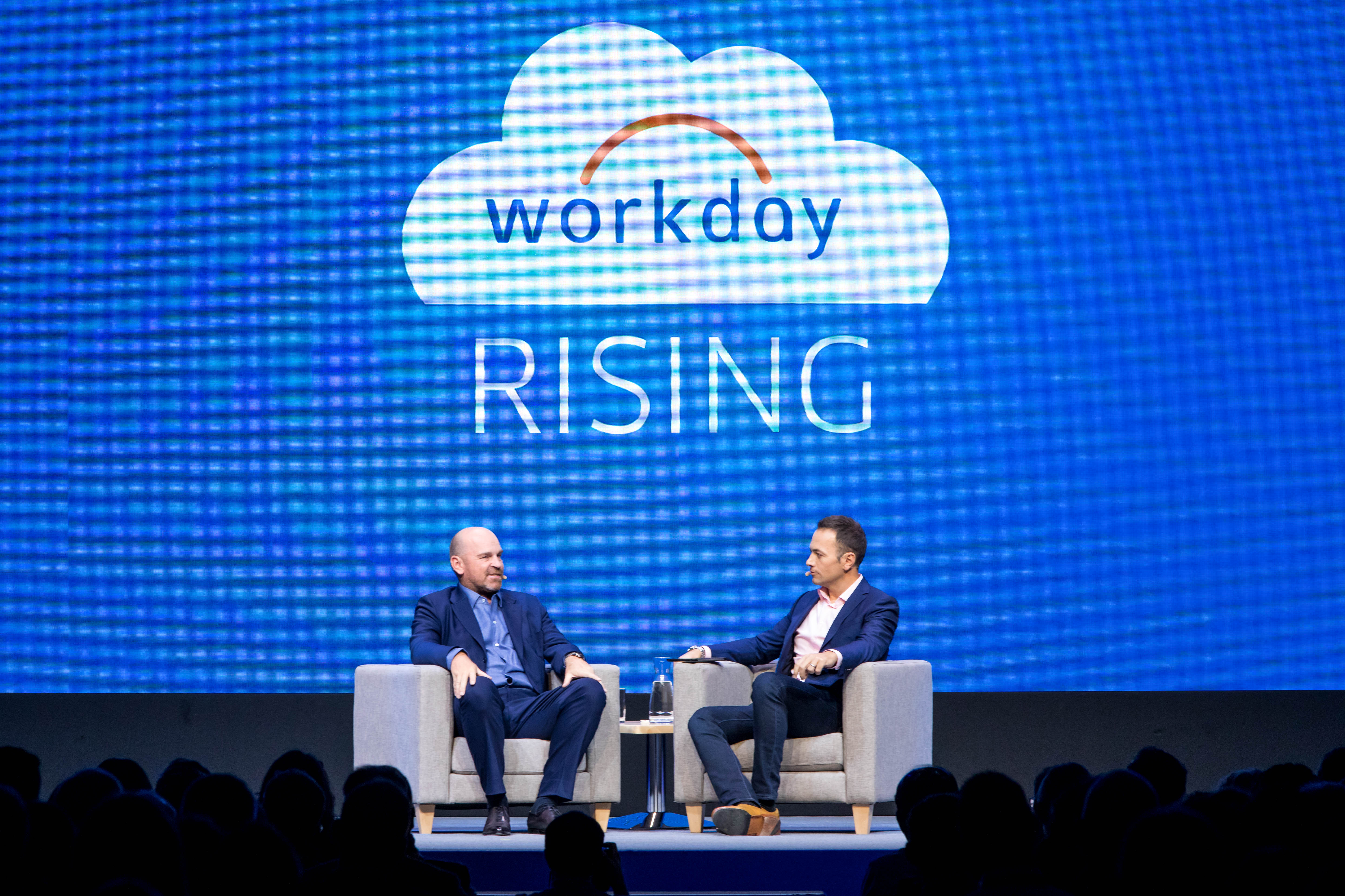 Golfers Thomas Bjorn and Nick Dougherty at Workday Rising Europe.